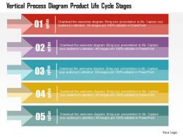 Vertical Process Diagram Product Life Cycle Stages Flat Powerpoint Design
