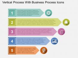 Vertical Process With Business Process Icons Flat Powerpoint Design