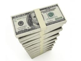 Vertical Stack Of Dollars Stock Photo