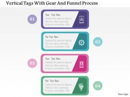 Vertical Tags With Gear And Funnel Process Flat Powerpoint Design