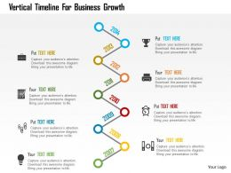 Vertical Timeline For Business Growth Flat Powerpoint Design