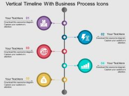 Vertical Timeline With Business Process Icons Flat Powerpoint Design