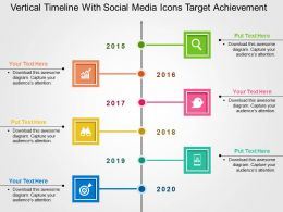 Vertical Timeline With Social Media Icons Target Achievement Flat Powerpoint Design