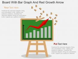 vf Board With Bar Graph And Red Growth Arrow Flat Powerpoint Design