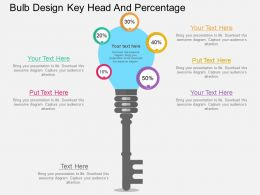 vh Bulb Design Key Head And Percentage Flat Powerpoint Design