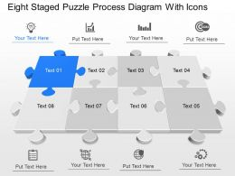 Vh Eight Staged Puzzle Process Diagram With Icons Powerpoint Template