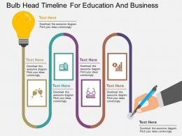 vi Bulb Head Timeline For Education And Business Flat Powerpoint Design