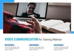 Video Communication For Training Webinar