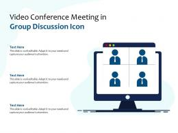 Video Conference Meeting In Group Discussion Icon