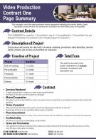 Video Production Contract One Page Summary Presentation Report Infographic PPT PDF Document
