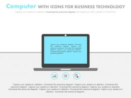 view Computer With Icons For Business Technology Flat Powerpoint Design