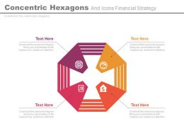 view Concentric Hexagons And Icons Financial Strategy Flat Powerpoint Design