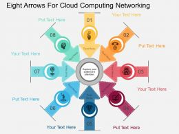 view Eight Arrows For Cloud Computing Networking Flat Powerpoint Design