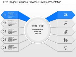 view Five Staged Business Process Flow Representation Powerpoint Template