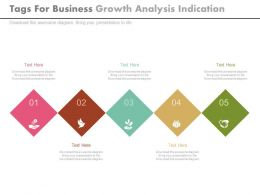 view Five Tags For Business Growth Analysis Indication Flat Powerpoint Design