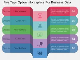 view Five Tags Option Infographics For Business Data Flat Powerpoint Design