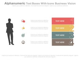 view Four Staged Alphanumeric Text Boxes With Icons Business Vision Flat Powerpoint Design