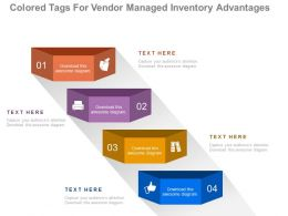 view Four Staged Colored Tags For Vendor Managed Inventory Advantages Flat Powerpoint Design