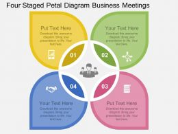 view Four Staged Petal Diagram Business Meetings Flat Powerpoint Design