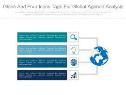 view Globe And Four Icons Tags For Global Agenda Analysis Flat Powerpoint Design
