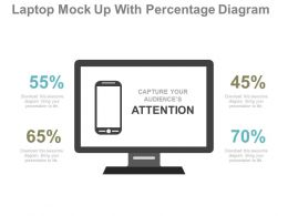 view Laptop Mock Up With Percentage Diagram Flat Powerpoint Design