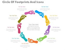 view Nine Staged Circle Of Footprints And Icons Flat Powerpoint Design