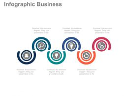 view Six Staged Circle Chart And Icons For Business Information Flat Powerpoint Design