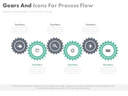 view Six Staged Gears And Icons For Process Flow And Control Flat Powerpoint Design