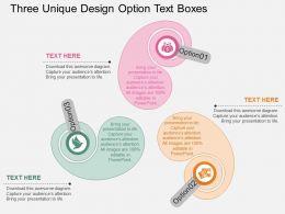 view Three Unique Design Option Text Boxes Flat Powerpoint Design