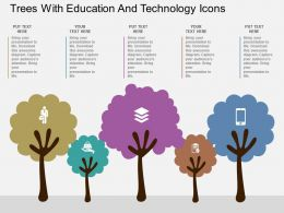 view Trees With Education And Technology Icons Flat Powerpoint Design