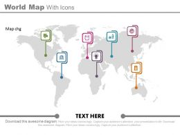 view World Map With Icons For Global Financial Strategy Flat Powerpoint Design