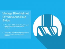 Vintage Bike Helmet Of White And Blue Strips