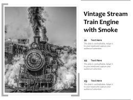 Vintage Stream Train Engine With Smoke