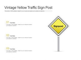 Vintage Yellow Traffic Sign Post