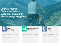 Viral Marketing Communications Checklist Customer Relationship Programs Cpb