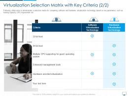 Virtualization Selection Matrix With Key Criteria Cloud Computing Infrastructure Adoption Plan