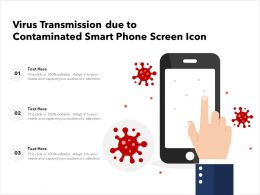 Virus Transmission Due To Contaminated Smart Phone Screen Icon