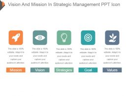 Vision And Mission In Strategic Management Ppt Icon