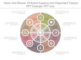 Vision And Mission Of Brand Essence And Dependent Factors Ppt Example Ppt Icon