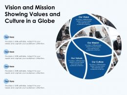 Vision And Mission Showing Values And Culture In A Globe