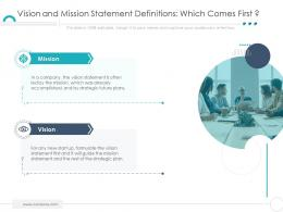 Vision And Mission Statement Definitions Which Comes First Company Ethics Ppt Topics