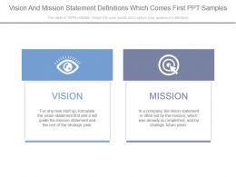 Vision And Mission Statement Definitions Which Comes First Ppt Samples