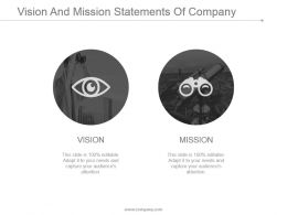 Vision And Mission Statements Of Company Presentation Images