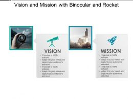 Vision And Mission With Binocular And Rocket