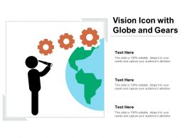 Vision Icon With Globe And Gears