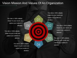 Vision Mission And Values Of An Organization Powerpoint Slide Images
