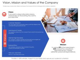 Vision Mission And Values Of The Company N557 Powerpoint Presentation Outfit