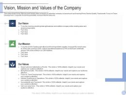 Vision Mission And Values Of The Company Raise Grant Facilities Public Corporations Ppt Sample