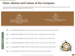 Vision Mission And Values Of The Company Service Team Social Ppt Slides Background