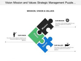 Vision Mission And Values Strategic Management Puzzle Pieces Graphic